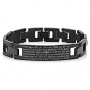 20cm Stunning Black Stainless Steel Bible Lord's Prayer Cross Bracelet 20cm