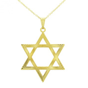 Gold Plated 18k Large Star Of David Adult Unisex Pendant Jewish Charm Necklace 48cm