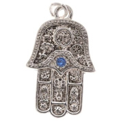 Silver Plated Hamsa Hand Charm Adorned With Sapphire. ELEMENTS Crystal 23mm