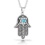 Bling Jewellery CZ Star of David Hamsa Pendant Necklace 41cm Rhodium Plated