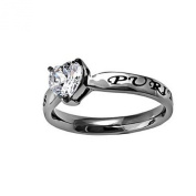 "Christian Womens Stainless Steel Abstinence 3mm Matthew 5:8 ""Purity"" CZ Heart Solitaire Chastity Ring for Girls - Girls Purity Ring - Comfort Fit Ring Size 6"