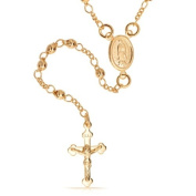 Bling Jewellery Gold Filled Rosary Beads Modern Virgin Mary Cross Necklace