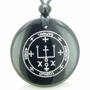 Sigil of the Archangel Raphael Amulet Black Agate Magic Pendant Necklace