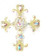 Cross Crucifix Pin Brooch Big Pendant AB Rhinestone Crystal