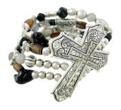 Rhinestone Accented Cross Beaded Stretch Bracelet