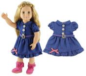 HongShun New Style High Quality Blue Denim Skirt Doll Clothes for 46cm American Girl