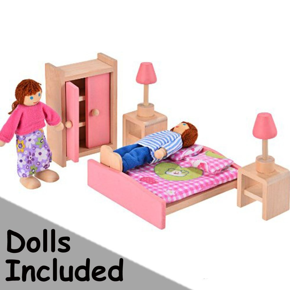 Imoomi Delicate Wooden Dollhouse Furniture Bedroom Set 5 Piece