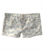 Aeropostale Womens Floral Print Rolled Cuff Casual Mini Shorts mint 7/8