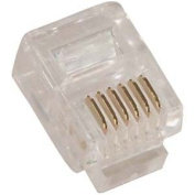 InstallerParts RJ12 (6P6C) Plug for Solid Round Wire 100pk