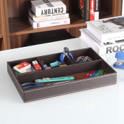 UnionBasic Flat 4-Slot Leather Drawer Tray Desk Stationery Sundries Gadget Organiser Storage Box Pen Pencil Holder Case Container