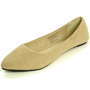 Alpine Swiss Women's Nude Micro Suede Lilly Ballet Flats - Pointed Toe 6 M US
