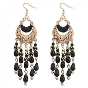 Voberry® Women's Bohemian Classical Fringed Long Section Of Big Beads Pendant Drop Tassels Hook Dangle Earrings
