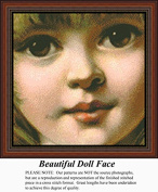 Beautiful Doll Face, Vintage Counted Cross Stitch Pattern
