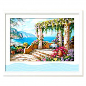 DOMEI 3D Stamped Cross Stitch Kit,Seaside View, 70cm x 48cm