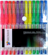 Neon Gel Pens from Colour Technik, Set of 12 Professional Artist Quality Pens. Best Gel Pen Colours with Comfort Grip. Enhance Your Adult Colouring Book Experience Now! Perfect Gift Ideas!