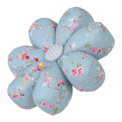 Neoviva Fabric Coated Fully Padded Daisy Shaped Pin Cushion with 7 Petals, Floral Blue Ocean