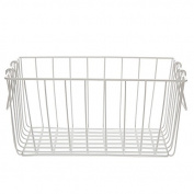 White Rectangular Wire Basket with Swing Handle - Medium