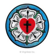 LUTHER ROSE SEAL LUTHERAN CHURCH SYMBOL CHRISTIAN CROSS EMBROIDERED EMBLEM PATCH