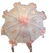 90cm White Lace Baby Shower Umbrella Pink Storks, Pacifiers & Rattles