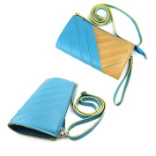 JAVOedge Blue Cut Out Pattern Clutch Over the Shoulder Purse with Zipper Divider, Adjustable / Removable Straps