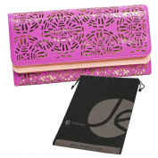 Purple / Pink Tri Fold Lace Cut Out Clutch Hand Wallet for Phone, Cards, ID with Bonus Reuseable Storage Bag