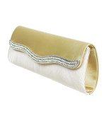 White Tube Style Hand Clutch with Rhinestone Diamond Snap Closure, Removable Shoulder Strap With Bonus Drawstring Bag
