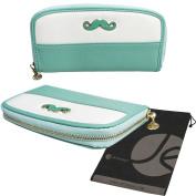Moustache Clutch Style Zipper Wallet Case and Phone Holder (Mint) with Bonus Storage Bag