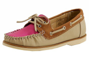 Easy Strider Girl's Fashion Slip On Tan/Pink Leather Boat Shoes Sz