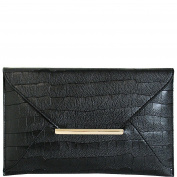 JNB Croc Print Faux Leather Envelope Clutch