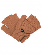 Dahlia Women's Winter Wool Flip Top Gloves - Cable Knit - Brown