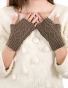 Dahlia Women's Fingerless Arm Warmer Gloves - Aran Short - Khaki