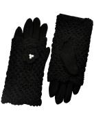 Dahlia Women's Two in One Faux Pearl Flower Wool Blend Crochet Gloves Black