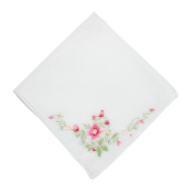 CTM Womens Cotton Floral Embroidered Handkerchief