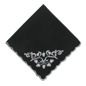 CTM Womens Cotton Black and White Floral Scroll Handkerchief