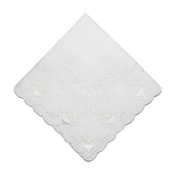 CTM Womens Soft Cotton Bridal Heart Embroidered Handkerchief