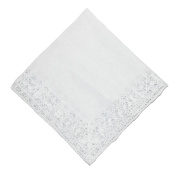 CTM® Womens Cotton Bridal Hand Crocheted Venice Lace Handkerchief, White