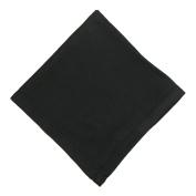 CTM® Womens Cotton Black Hand Hemstitched Handkerchief, Black