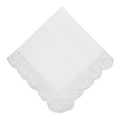 CTM Womens Cotton Hand Made Madonna Lace Handkerchief