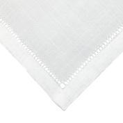 CTM® Unisex Linen Hemstitched Handkerchief, White