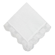 CTM® Womens Cotton and Regal Lace Handkerchief, White