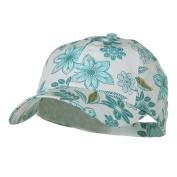 Low Profile Flower Print Cap - Turquoise