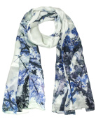 Dahlia Women's 100% Long Silk Scarf Shawl - Plum Blossom Ink Painting - Blue