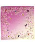 Dahlia Women's 100% Square Silk Scarf - Dance of Butterfly Neckerchief - Pink