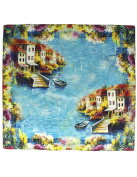 Dahlia Women's 100% Square Silk Scarf - Quiet Old Venice Neckerchief - Blue