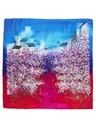 Dahlia Women's 100% Square Silk Scarf Shawl - Gradient Peach Blossom - Red