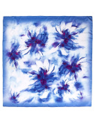 Dahlia Women's 100% Square Silk Scarf Shawl - Painted Large Flower - Blue