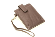 Womens Wristlet Wallet With Cell Phone Pouch Card Holder Genuine Leather Slim Colombian Brown