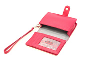 Womens Clutch Wristlet Wallet Smart Phone Pouch Genuine Leather Detachable Strap Red