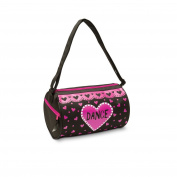 Danshuz Girls Love Dance Black Pink Hearts Roll Side Zipper Duffel Bag