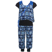 Little Girls Royal Blue Black Floral Pattern Layered Shirt Pant Outfit 4